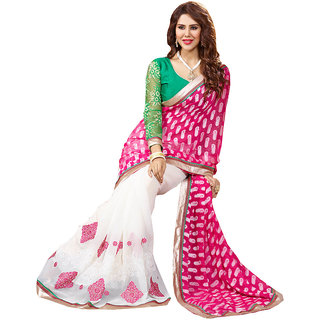 Lovely Look Latest collection of Sarees in Georgette  Jacquard Fabric  in Pink  White Color
