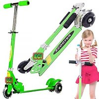 CROWN Green Scooter For Kids, Foot Brake, Children Kick Push Roller Board