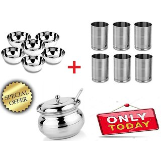 Stainless Steel Bowls Set of 6pcs+Stainless Steel 6Pcs Glass +1pcSteel Ghee Pot