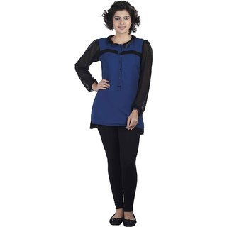 Soie Blue Solid Full Sleeve Tunic