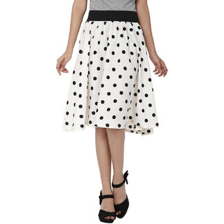 white with black polka dot A line skirt