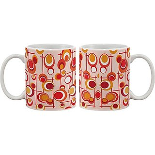 Artifa Red Circles Pattern Porcelain, Ceramic Mug