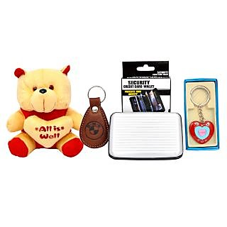 King  Queen Beautiful Teddy Bear With Keychain  Card Wallet Combo