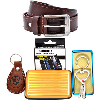 King  Queen Fashionable Brown Leather Belt, card Wallet  Keychain Combo pack