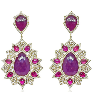 White And Purple Stone Studded Dangler Earrings