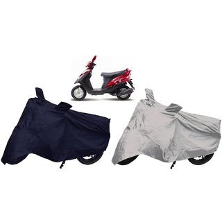Stylobby Navy Blue And Silver Bike Cover Mahindra Flyte Sym Pack Of 2