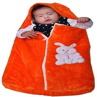 Handloomdaddy Supersoft Baby Zipper Bag Made By Blanket (orange)