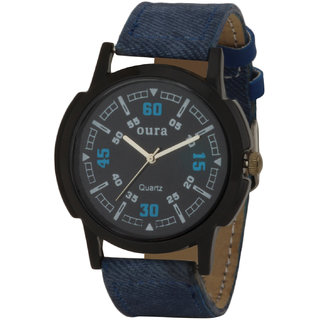 Oura Round Dial Blue Fabric Strap Mens Watch