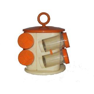 Maa enterprises 8 jar revolving spice rack orange