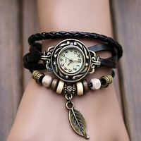 Black Leather Strap Watch Hand-knitted Leather Watch Women' Watches