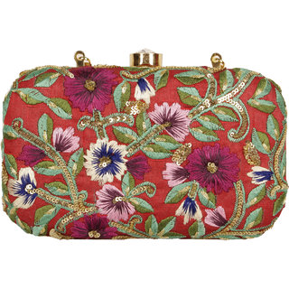 Lizzie Hand-Held Bag Brocade snap button clutch
