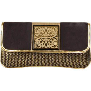 Lizzies  casual Hand-Held Black Clutch