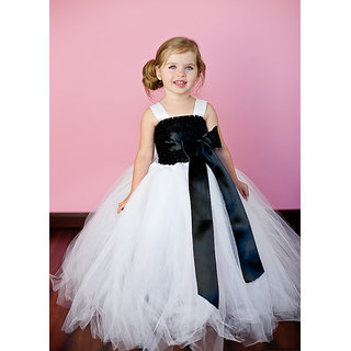 Tutu White And Black Color Party Dress for Kids