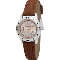 Swisstone Brown Leather Strap Analog Watch For Women/Girls-ST-LR005-BRW-BRW