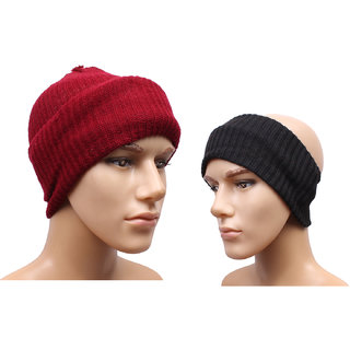 Sushito Classic Maroon Mokkey Cap With Head Band JSMFHCP1469