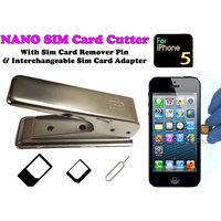 Gadget Hero's Nano Sim Card Cutter For IPhone 5 With 2 Interchangeable Adapters & Sim Card Remover Pin