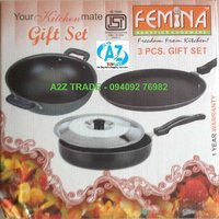 Femina 3 Pcs Non Stick Gift Set -ISI With Adjustable Stainless Steel Slicer