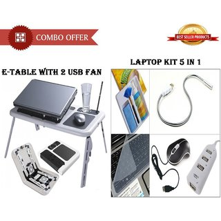 Special Combo Offer E-Table With 2 Usb Fan + Laptop Kit 5 In 1 - CMETBLKT