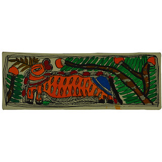 Craftuno Traditional Madhubani Painting Depicting A Tiger