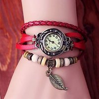 RedLeather Strap Watch Hand-knitted Leather Watch Women' Watches Red