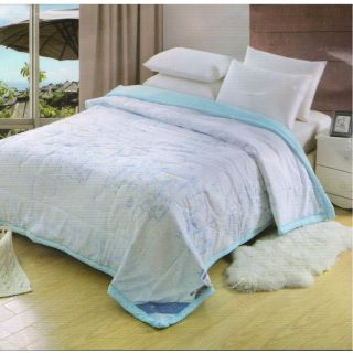 Valtellina Cyan Floral Double Comforter (Super White)(Relax-06)