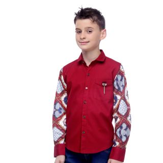 MashUp Designer Red Printed Sleeve Shirt For Boys.