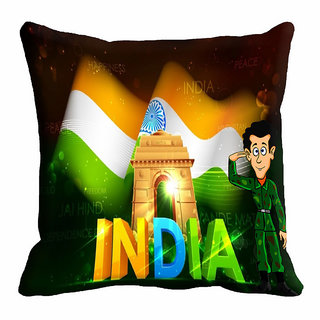 meSleep Black Republic Day Cushion Cover (16x16)