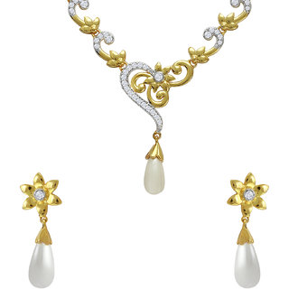 Mahi CZ Floral Fashion Pearl Gold Plated Necklace Set for Women NL1103663G