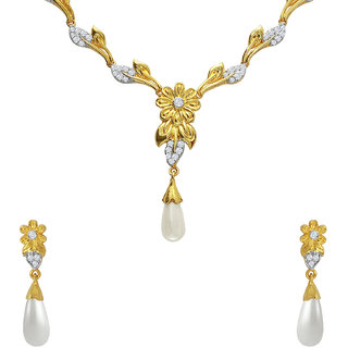 Mahi CZ Floral Leaf Pearl Gold Plated Necklace Set for Women NL1103665G