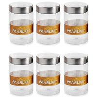 Pearlpet Jar With Steel Cap 1400ml - 6 Pcs set Airtight,clear,with steel cap