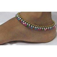 Golden Multi Color Pearl Stone Anklet