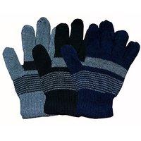 Lpm 3 pair assorted color woolen gloves for men combo