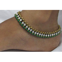 Green Pearl Golden White Stone anklet