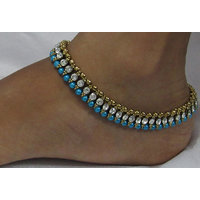 Sky blue Pearl Golden White Stone anklet