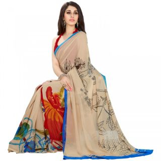 A G Lifestyle Brown Faux Georgette Saree With  Blouse FSN311B