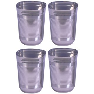 Square shape drinking glass set of 4 with full lines
