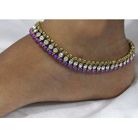Purple Pearl Golden White Stone anklet