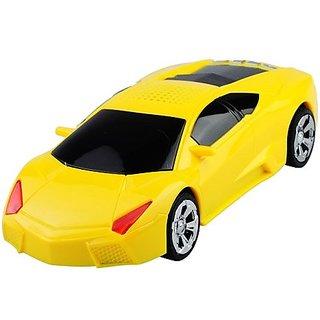 AX-700 FM Radio Supported TF USB Mini Hi-Fi Music Speaker with Car Shape(Yellow)