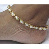 single line pearl kundan anklet