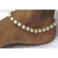 Single line round pearl anklet