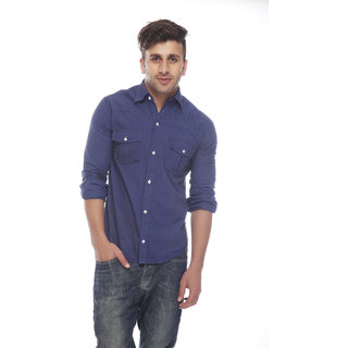 Osia Italia Men's Casual Navy Blue Shirt