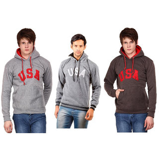 Wajbee Mens Hooded Sweatshirt Pack of 3