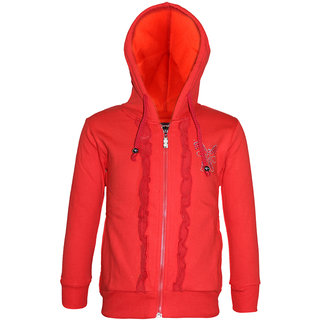 Kothari Girls Casual Red Fleece Cotton Polyester Hooded Sweatshirt