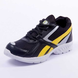 Foot 'n' Style Comfortable Black & Yellow Sports Shoes (fs423)