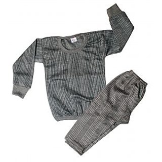 Gray Woolen Kids Upper & Lower Thermal Set