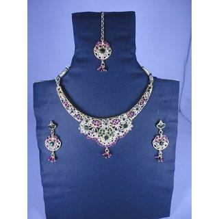 Fancy Design Stones L Necklace Set  With  Earrings & Bindi  5 –  1 Nu JL-01700