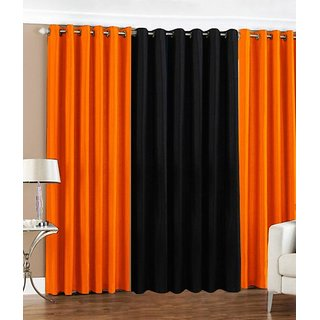 Ech oly Orange and Black Curtain set of 3