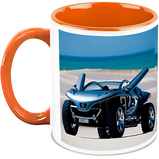 Homesogood Automobile That Are King Of Sand White Ceramic Coffee Mug - 325 Ml