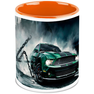 Homesogood Automobile Breaking Some Rules White Ceramic Coffee Mug - 325 Ml