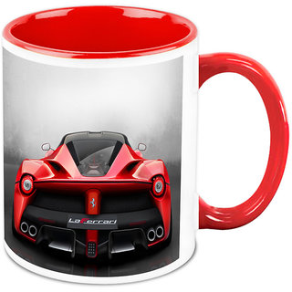 Homesogood Automobile The Red Fury White Ceramic Coffee Mug - 325 Ml